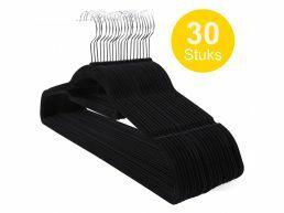 Antislip kledinghangers - plooibaar - roterende haak - 30 stuks - zwart