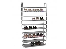 Groot schoenenrek - 10 niveaus - metaal - 100x175x28 cm - zwart
