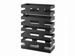 Metalen design paraplubak - rechthoekig - met waterbakje - zwart