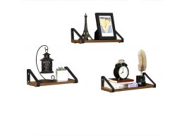 Tweedekans - Set van 3 wandplanken - industriële look - 40x12x11 cm - vintage bruin