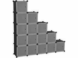 Modulaire vakken - met 16 kubussen - 153x153x31 cm - zwart