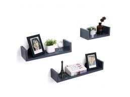 Set van 3 wandplanken - rechthoekig - 60x10x15 cm - grijs