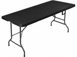 Opklapbare tuintafel - houten look - 180x75x74 cm - zwart