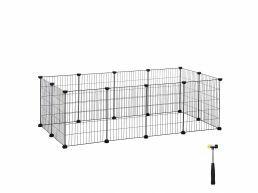 Metalen kooi - voor cavia, konijn, puppy - 143x46x73 cm - zwart