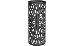 Metalen paraplubak - rond - met waterbakje - ovaal patroon - zwart