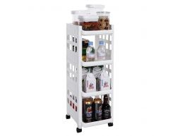 Opbergtrolley - 4 niveaus - 27.5x74.5x32.5 cm - wit