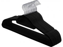Antislip kledinghangers - plooibaar - roterende haak - 20 stuks - zwart