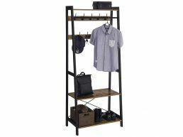 Garderoberek - industriële look - 9 haken - 76x180x43 cm - vintage bruin