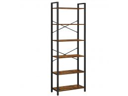 Boekenkast - met 6 niveaus - industriële look - 66x186x30 cm - vintage bruin