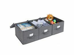 Set van 3 Stoffen Dozen met Deksel - Opvouwbare Opslagboxen met Etikettenhouder - 40 x 30 x 25 cm - Grijs