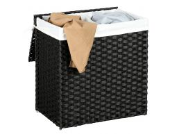 Geweven wasmand - 2 vakken van elk 55 liter - synthetische rotan - 57x60x33 cm - zwart