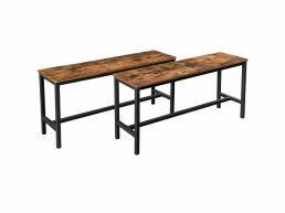 Set van 2 eettafelbanken - industriële look - 108x50x32.5 cm - vintage bruin