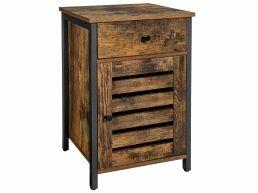 Nachtkastje - industriële look - met lade - 40x60x40 cm - vintage bruin