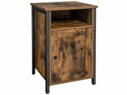 Nachtkastje - industriële look - 1 deur en 1 vak - 40x60x40 cm - vintage bruin