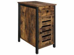 Nachtkastje - met lade en deur - industriële look - 30x60x50 cm - vintage bruin