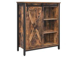 Kast - industriële look - met schuifdeur en verstelbare planken - 70x80x30 cm- vintage bruin