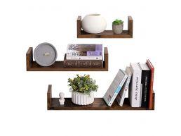 Set van 3 moderne wandplanken - rechthoekig - 60x10x15 cm - vintage bruin