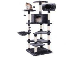 XXL luxe krabpaal - multilevel - met huisjes en speeltjes - 60x165x60 cm - donkergrijs