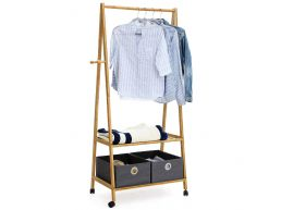 Mobiel kledingrek - 2 legplanken - 4 haken - 69.5x152x43 cm - bamboe