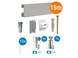 Artiteq - ophangsysteem - 15 m - click rail - zilvergrijs
