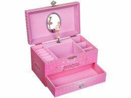 Juwelendoosje met muziek - eenhoorn en prinsessenmotief - roze