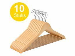 Kledinghangers - roterende haak - 10 stuks - massief hout - kwalitatief esdoorn - natuurlijk bruin