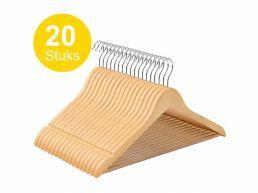 Kledinghangers - roterende haak - 20 stuks - massief hout - kwalitatief esdoorn - natuurlijk bruin