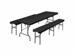 Tuinmeubelset - met tafel en 2 banken - inklapbaar - rotan look - zwart