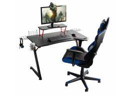 Game bureau - met accessoires - metalen poten - 108x70x60 cm - zwart