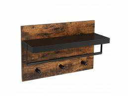 Wandkapstok - industriële look - 3 haken - 60x40x21.5 cm - vintage bruin