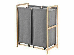 Houten wasmand - 2 vakken - 110 liter - 60x60x33 cm - grijs