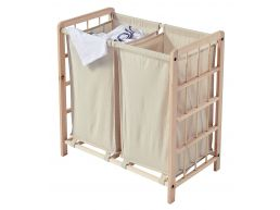 Houten wasmand - 2 vakken - 110 liter - 60x60x33 cm - beige