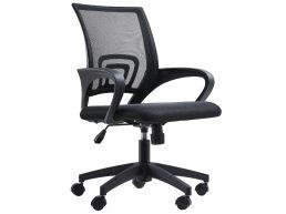 Bureaustoel - brede armsteunen - verstelbaar in hoogte - zwart