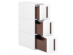 Opbergtrolley - 3 lades - met wieltjes - 17x63x45 cm - wit