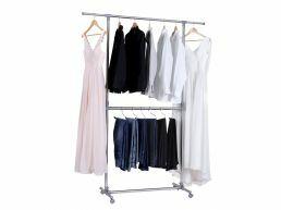 Mobiel kledingrek - verstelbaar - 2 rails - zilvergrijs