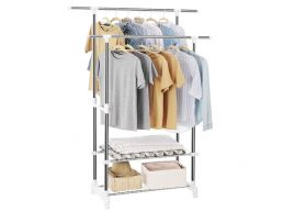 Mobiel kledingrek - dubbelvoudig - 2 rails - zilvergrijs