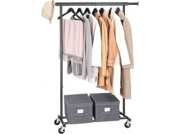 Mobiel kledingrek - verstelbaar - 1 rail - metaal - 160x92>132 cm - zwart