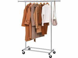 Mobiel kledingrek - verstelbaar - 1 rail - metaal - 160x92>132 cm - zilvergrijs