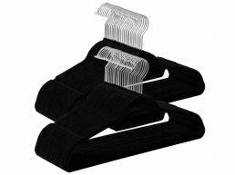 Antislip kledinghangers - plooibaar - roterende haak - 100 stuks - zwart