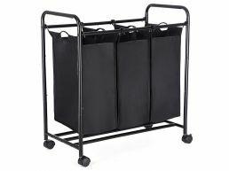 Mobiele wasmand - 3 vakken van elk 44 liter - 77 x 41 x 81.5 cm - zwart