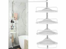 Praktisch doucherek - 4 schappen - met handdoekhouder - verstelbaar in hoogte - wit