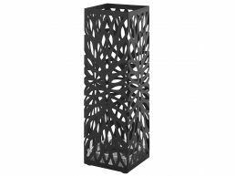 Metalen paraplubak - met waterbakje - ovaal patroon - zwart