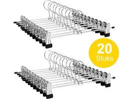 Antislip kledinghangers - verstelbare knijpers - roterende haak - 20 stuks - 31 cm - grijs