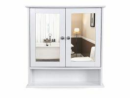 Badkamerkast met twee spiegels - 56x13x58 cm - wit