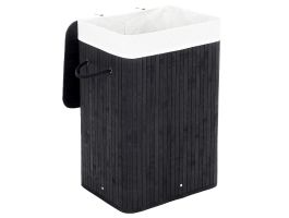 Wasmand met deksel - bamboe - katoenen zak - 72 liter - 40x60x30 cm - zwart