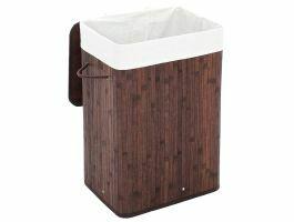 Wasmand met deksel - bamboe - katoenen zak - 72 liter - 40x60x30 cm - donker bruin