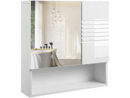 Kast met spiegel - 55x54 cm - hoogglans wit