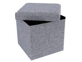 Poef - opvouwbaar - zonder poten - stof - 38 cm - grijs