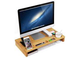 Monitorstandaard - voor laptop en pc - 60x8.5x30 cm - bamboe