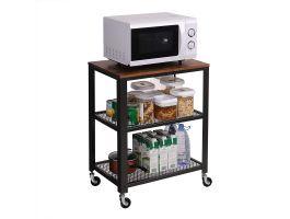 Keuken trolley - op wieltjes - 2 legplanken - 60x76x40 cm - bruin/zwart